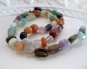 Gemstone and Glass Nugget Beads in a Mix of Aventurine, Jasper, Quartz, Amethyst and More, Approx 8mm - 15mm, 1 Strand 15 in, GB450