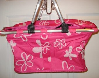 Insulated Pink with White flowers Collapsible Market Tote Personalized Free Great for the Beach, Pool Parties