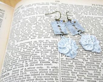 Escutcheon & Flower Earrings white summer - FLORA - ooak - ready to ship Etsy uk