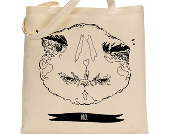 NO - Grumpy kitty tote bag - cat tote bag - lolcat
