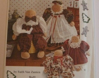 UNCUT Simplicity 9676 Crafts Pattern Gingerbread Dolls Country Christmas Holiday Sewing Faith Van Zanten