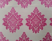 Custom Curtains Valance Roman Shade with Off-White / Hot Pink in Damask Pattern