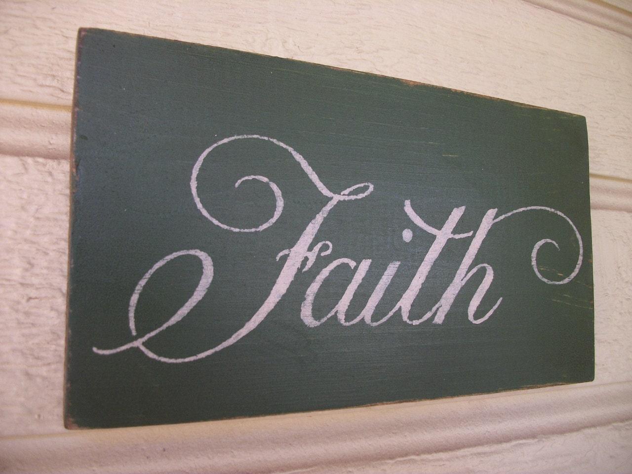Antiqued faith sign wall decor plaque for Faith decor