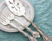 """Always & Forever cake server set of vintage wedding forks """"interlude"""" hand stamped"""