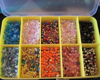 Lot of Seed Beads in Container
