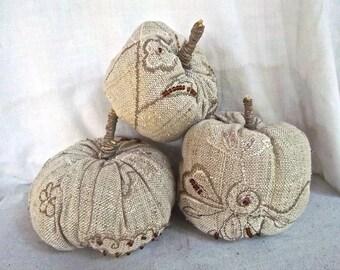 Handmade Autumn Beaded Linen Waxed Linen Stem Pumpkin Display Set