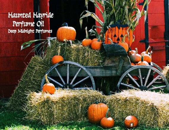 HAUNTED HAYRIDE Perfume Oil - Pumpkins, Roasted Marshmallows, Candy, Soft Hay, Frankincense - Gothic Perfume - Halloween Perfume,