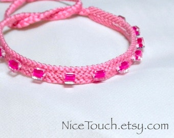 SUMMER SALE!!! Free Shipping or Save 20% ~ Pretty in Pink knotted friendship bracelet ~ Ready to Ship