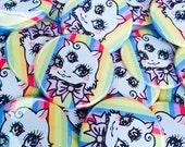 Pride Mow Mow Badge Button, rainbow mystic mow mow cat, kitten, kawaii pin