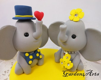 Custom Elephant Love Wedding Cake Topper with SWEET HEART and circle clear base