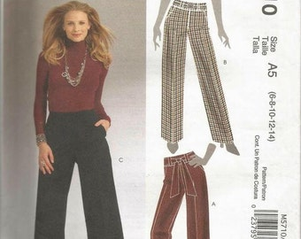Misses Semi Fitted Pants and Sash Flared Leg Pants McCall's 5710 Easy to Sew Uncut FF Sizes 6-14 Waist 23 - 28 Sewing Pattern