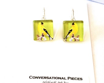 Golden Finch Bird Earrings