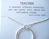 Large Gift for Your Teacher, Teacher Mentor Gift, Teacher Retirement Gift, Professor Gift, Large Eternity Necklace, Large Karma Necklace