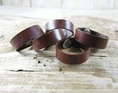 Unisex Brown Leather Ring - Brown Ring Band - Leather Jewelry - Leather Band - Leather Ring - Wedding Ring Band