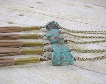 Raw Turquoise  Necklace - Semiprecious Stone - Green Stone Pendant  - Nugget Necklace - Rough Turquoise - Leather Jewelry