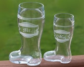 Mr and Mrs Engraved Beer Boots Ready to Ship Fun Bridal Shower Gift