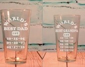 Double Engraved Worlds Best GRANDPA Worlds Best DAD Glass Pint Glass Fathers Day Gift