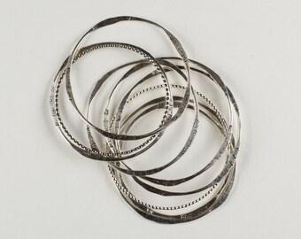 Round Freeform Sterling Silver Bracelet