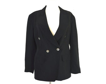 90's EMANUEL UNGARO Silk  Minimalist Black Blazer size - S/M