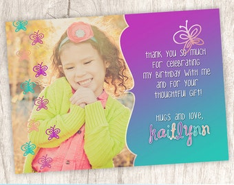 Butterfly Thank You Photo Card, Butterflies Thank You Note, Girls, Girl - DiY Printable, Print Service Available || Ombre Butterfly Doodle