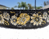 """Girl Dog Collar Yellow Morning Glory 1"""" wide Quick Release buckle adjustable - see 1.5"""" listing - upgrade to martingale style"""