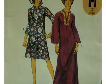 "70s Caftan Pattern, Front Neck Slit, Bell Sleeves, Long/Short, Style No. 3364 UNCUT  Size 16 Bust 38"" 97cm"