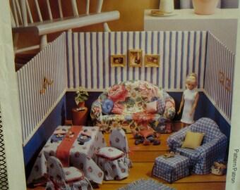 "Fashion Doll Furniture Pattern, Sofa, Table, Chairs, Ottoman, Pillows, Diorama, McCalls No. 828 UNCUT Size Fits 11.5 "" (29cm) Dolls"