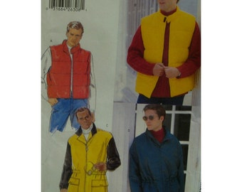 Mens Vest, Anorak Pattern, Zipper Front, Elastic Waist, Stand-up Collar, Elastic Wrists, Butterick No. 5213 UNCUT Size Chest 30-40""