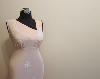 Wedding Lingerie Night Gown shelf bust nightie 1940s crepe pink blue sexy 40 XL