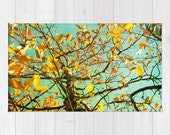 Art area Rug A Different Perspective photography home decor photograph mustard yellow abstract tree aqua blue photo throw nursery rug nature