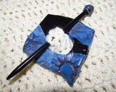 Denim blue and black asymmetrical shawl pin with matching stick