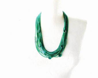 Seed Bead Necklace, Bohemian Jewelry, Czech Picasso Glass, Layered Collar, Matte Beads, Emerald Green, Multi Strand