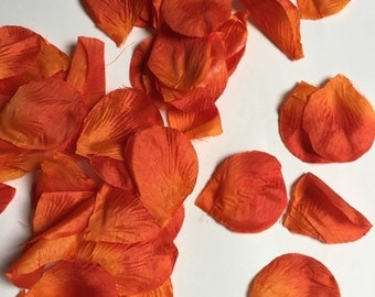 Orange rose petals, orange flower petals, fall wedding, fall decor, orange red flower petals, rustic wedding
