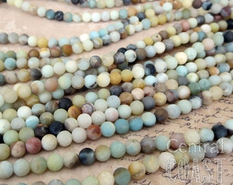 6mm Matte Amazonite Gemstone Beads - 16 inch strand - approx 65 beads - Frosted Opaque Milky Blue Green Gray Tan - Central Coast Charms