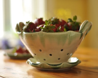 Ceramic Berry Basket with Plate