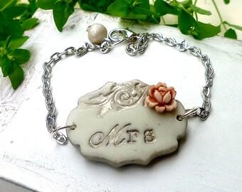 Mrs.Bracelet, Bridal Bracelet, Bride jewelry, Mrs Bride bracelet, cold porcelain jewelry, antique medallion, Vintage Bridal jewelry