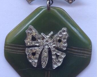 Sale Vintage Bakelite Brooch Green Carved with Rhinestones