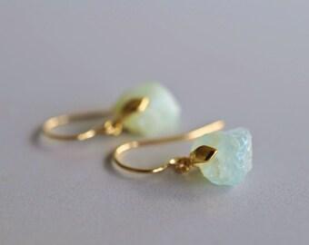 Nugget Earrings, Raw Aquamarine, Rough Cut, Gold Earrings, Designer Earrings, Pure Design, Minimalistic, Small Earrings, Aquamarine Earrings