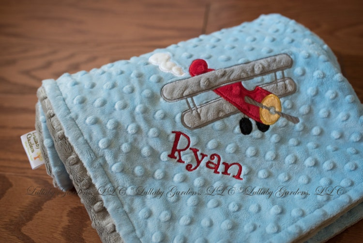 Airplane Personalized Minky Baby Blanket By Lullabygardens