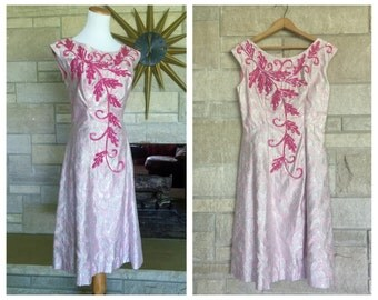 Pink Cocktail Dress * Lamé Brocade & Sequins * Ann's Vogue Shoppe * Womens Size Medium