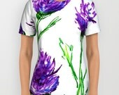 Designer Clothing - Floral Clover Painting - Artistic All Over Printed T Shirt