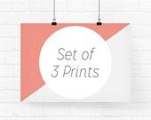 Your choice of 3 prints - archival fine art giclée print - custom set