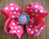 2655 hot pink polkadot boutique bow with LaLaLoopsey bottlecap