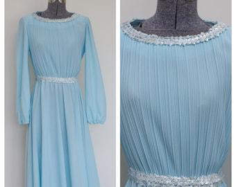Ms. Classic Robins Egg Blue Accordion Pleated 70's Dress