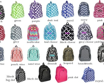 Girl's Backpack Full Size, includes bow and ruffle in your choice of fabric