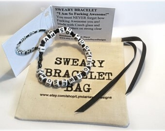 PERSONALIZED SWEARY Bracelet & Sweary Bracelet Gift Bag- Your Own Message- Up to 22 letters. Mature Content