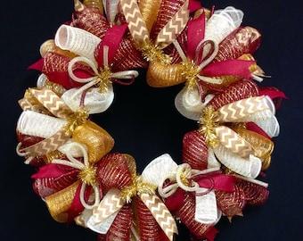 Fall Wreath, Chocolate Moss Green, Gold, Poly Mesh Wreath - Item 1673