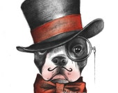 Boston Terrier Edwardian gentleman in top hat and bow tie original color art print 8.5x11