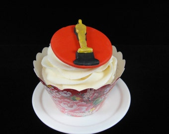 Edible Oscar Statues, Fondant Cupcake Toppers, Movie Party Theme, Cupcake Toppers, Movie Cupcake Topeprs - Quantity 12