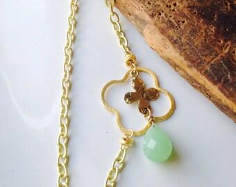 Quatrefoil Necklace, Cross Necklace, Gold Plated Necklace, Green Quartz, Layer Necklace, Opera Length, Etsy, Chain Necklace
